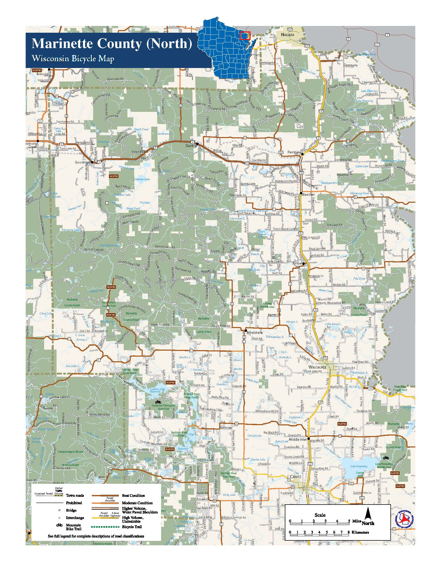 Marinette County Maps North Country Real Estate ATV Maps - Wi road map