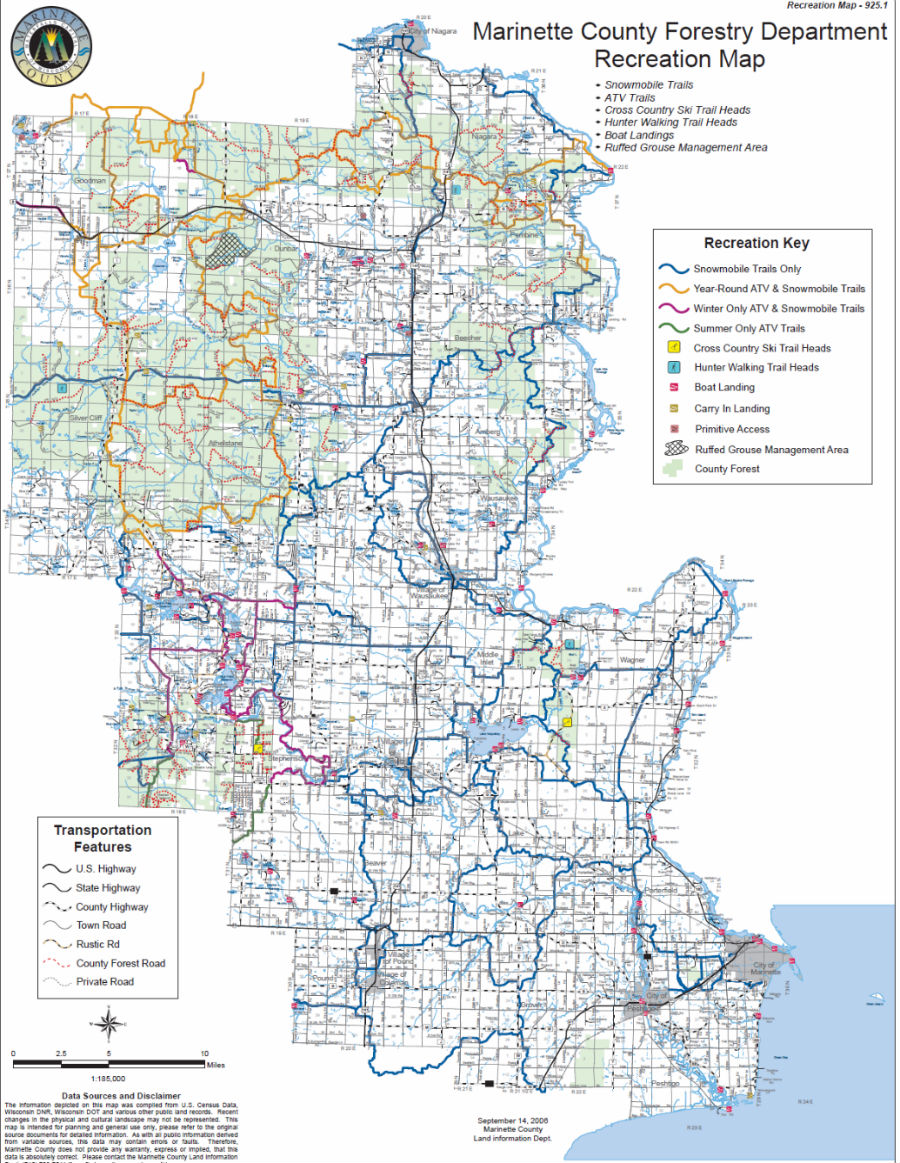 Marinette County Maps North Country Real Estate Atv Maps - Us-county-map-pdf